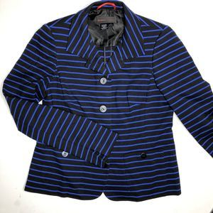 NINA MCLEMORE Blue Striped Blazer